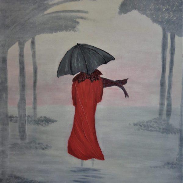 Frau im Nebel, 70 x 100 cm