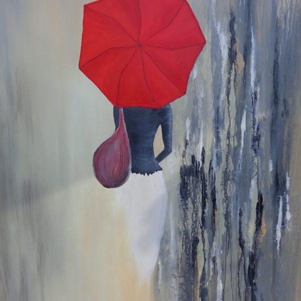 Frau mit rotem Schirm, 100 x 120 cm