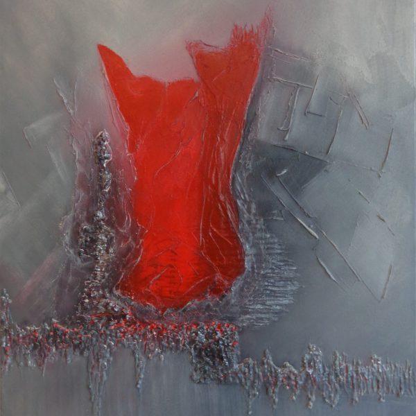 Komposition rot-Grau, 70 x 100cm